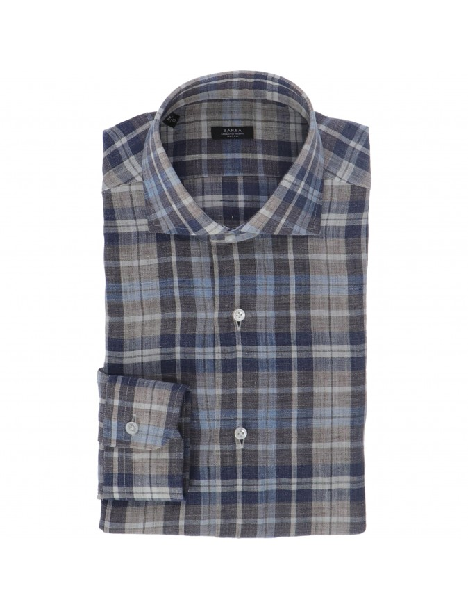 CHECKED LINEN SHIRT BARBA NAPOLI